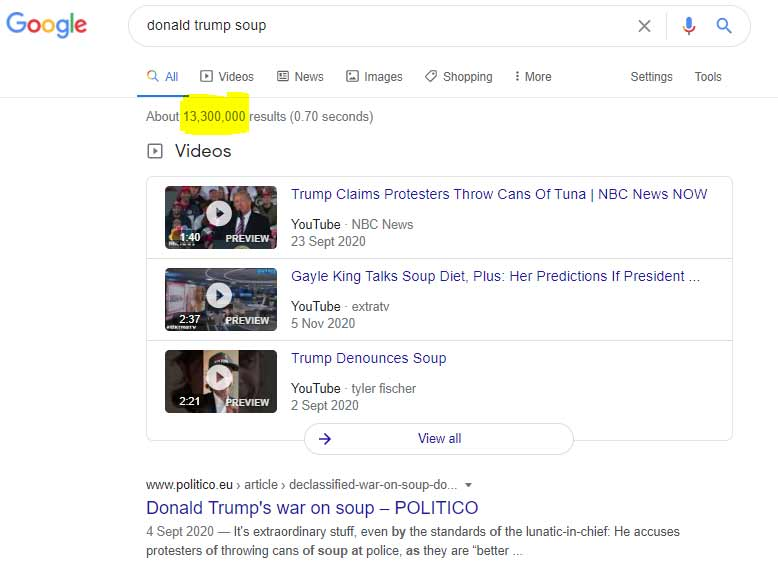 Google results from a Trump story